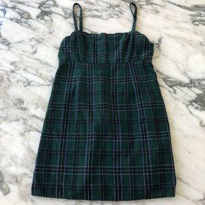 Urban Outfitters Green Plaid Mini Dress
